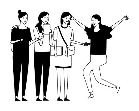 girls students celebration vector illustration graphic design