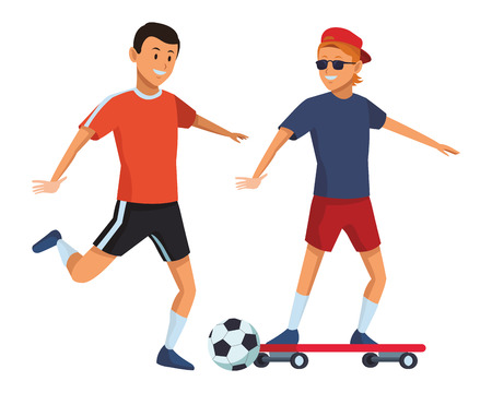 soccer player and skateboarder ball sunglasses and hat vector illustration graphic design