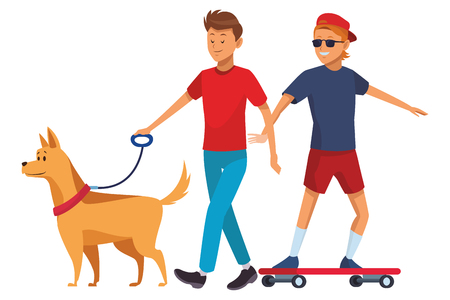 skateboarder and man with dog sunglasses hat vector illustration graphic design