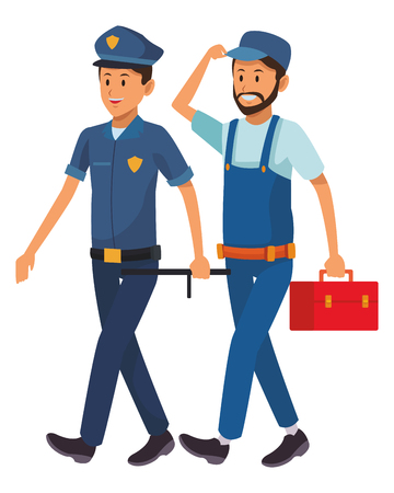 worker and policeman uniform toolbox vector illustration graphic design