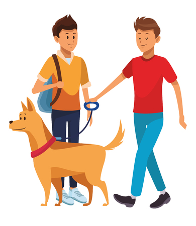 student and man with dog bag vector illustration graphic design