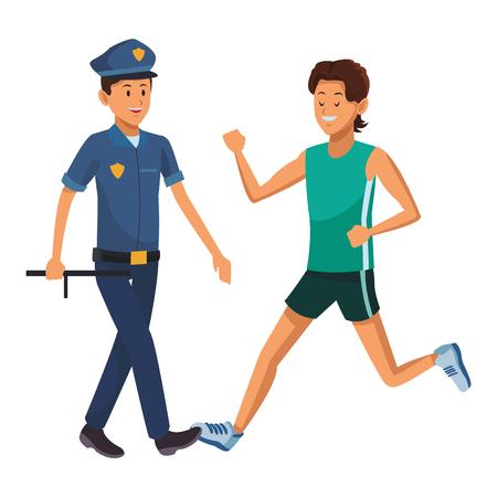 athlete and policeman uniform vector illustration graphic design
