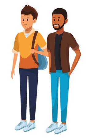 student and afroamerican man bag beard vector illustration graphic design 向量圖像
