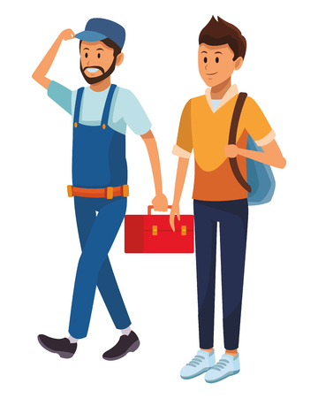worker and student toolbox bag vector illustration graphic design