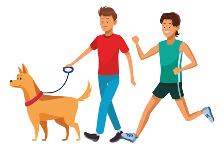 athlete and man with dog vector illustration graphic design