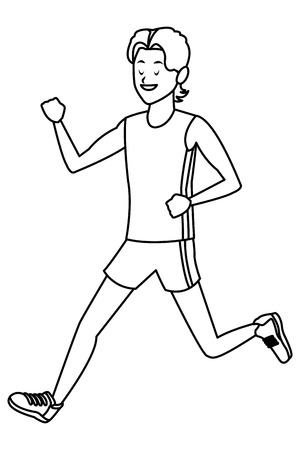 man running athlete black and white vector illustration graphic design