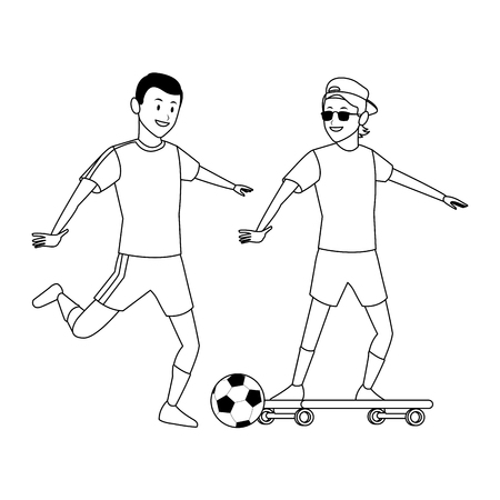 soccer player and skateboarder ball sunglasses and hat black and white vector illustration graphic design 向量圖像