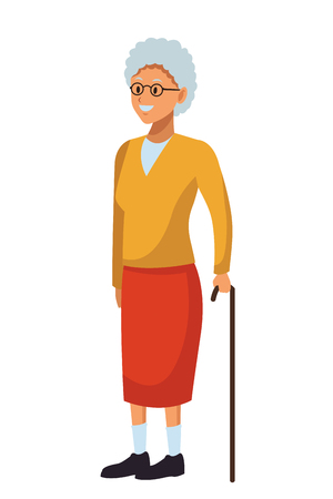 old woman with cane and glasses Illustration