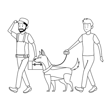 worker and man with dog toolbox black and white vector illustration graphic design 向量圖像