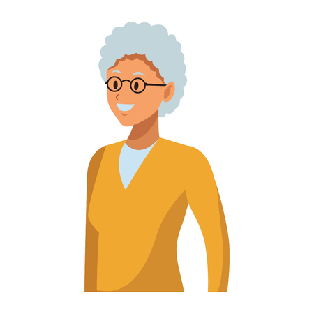 old woman portrait with glasses Illustration