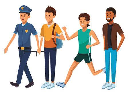 group of man avatars policeman student athlete afro american Ilustração