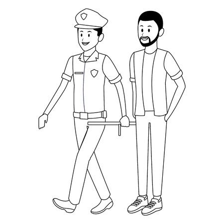 policeman and afroamerican man beard black and white vector illustration graphic design