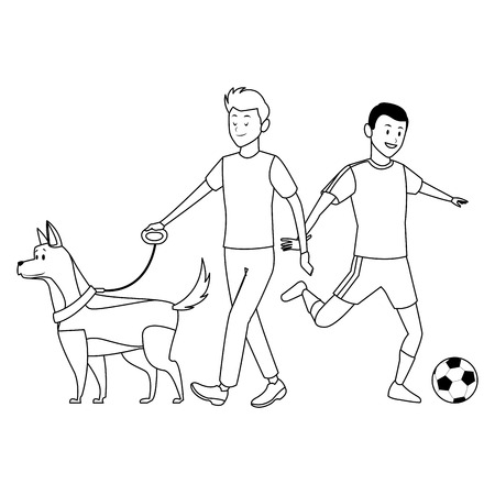 soccer player and man with dog ball black and white vector illustration graphic design
