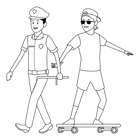 policeman and skateboarder sunglasses and hat black and white vector illustration graphic design 向量圖像