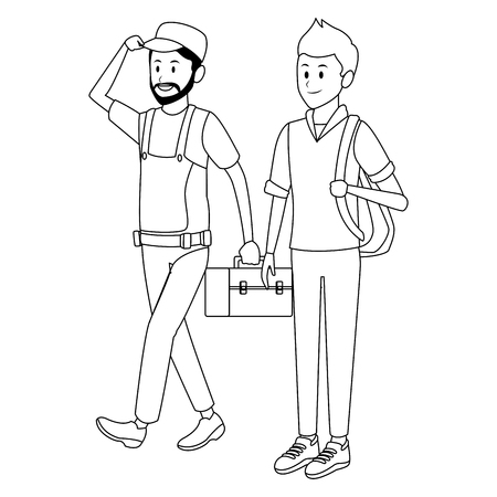 worker and student toolbox bag black and white vector illustration graphic design