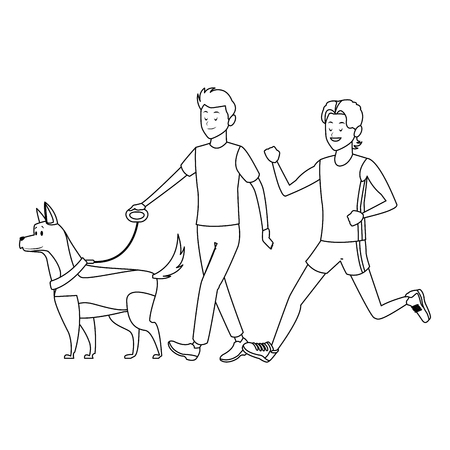athlete and man with dog black and white vector illustration graphic design