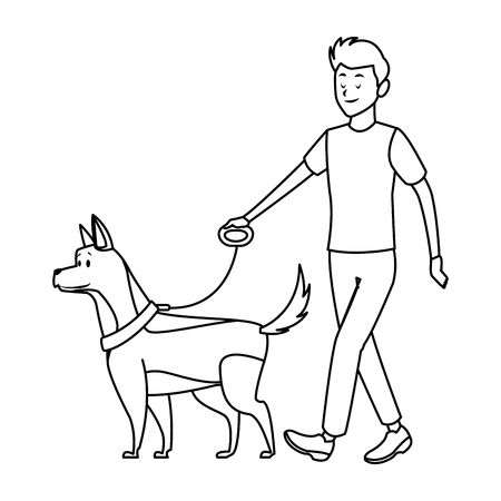 man and dog taking a walk black and white vector illustration graphic design