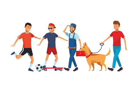 group of man avatars soccer player skateboarder worker and dog 向量圖像