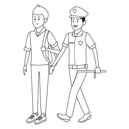 student and policeman bag uniform black and white vector illustration graphic design