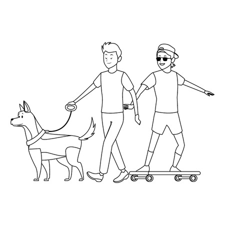 skateboarder and man with dog sunglasses hat black and white vector illustration graphic design 向量圖像