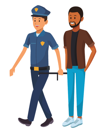 policeman and afroamerican man beard vector illustration graphic design