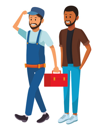 worker and afroamerican man toolbox and beard vector illustration graphic design 向量圖像