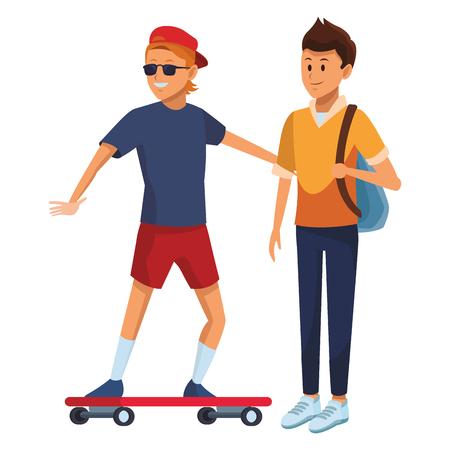 skateboarder and student bag sunglasses hat 向量圖像