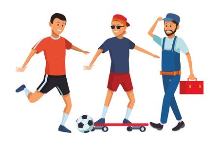 group of man avatars soccer player skateboarder worker
