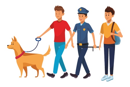 group of man avatars with dog policeman and student
