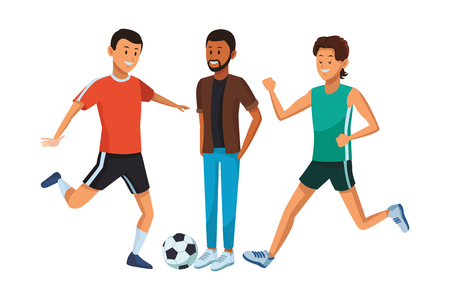 group of man avatars soccer player beard and athlete