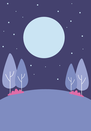 park at night with trees and moon vector illustration graphic design