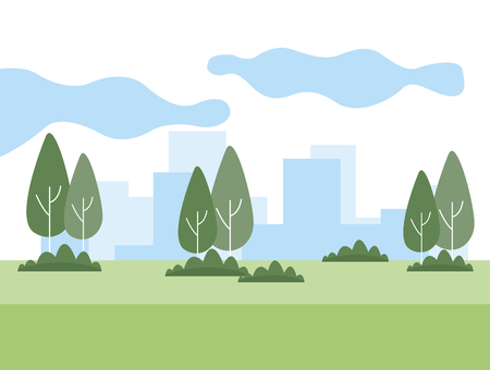 park and cityscape with trees vector illustration graphic design Illustration