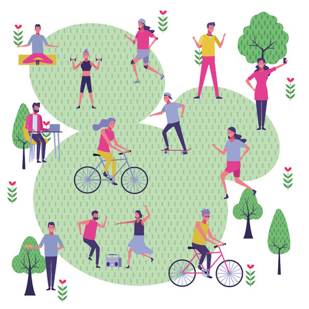 set people in the park dancing exercising with bicycle and skate vector illustration graphic design