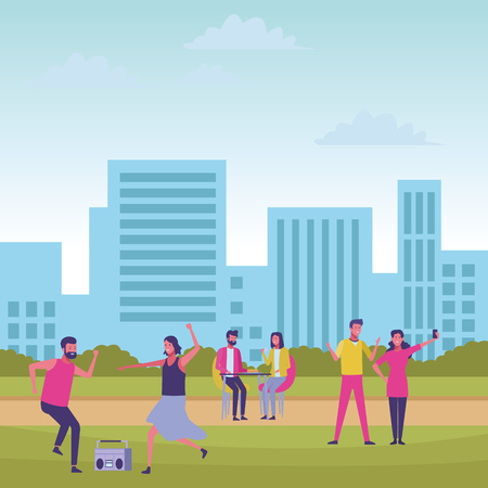 people in the park activities exercising cityscape background vector illustration graphic design 向量圖像