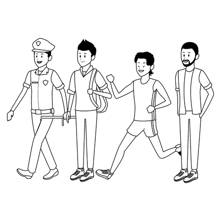 group of man avatars policeman student athlete afroamerican black and white vector illustration graphic design 向量圖像