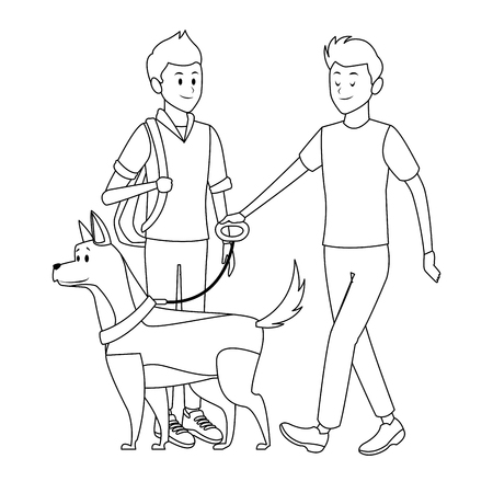 student and man with dog bag black and white vector illustration graphic design 向量圖像
