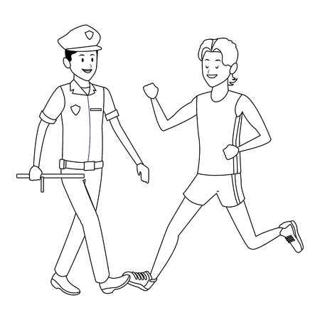 athlete and policeman uniform black and white vector illustration graphic design 向量圖像