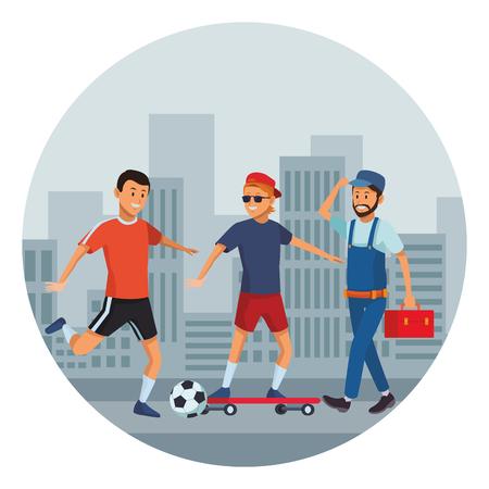 group of man avatars soccer player skateboarder worker in the street cityscape vector illustration graphic design 向量圖像