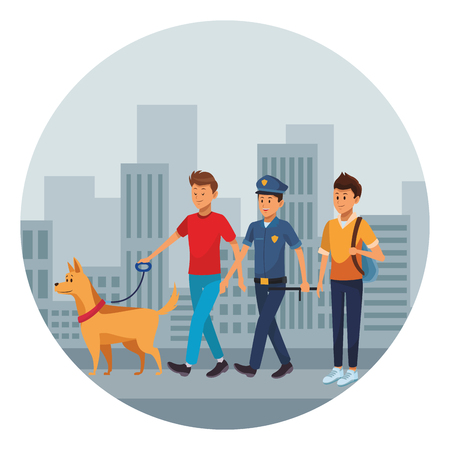group of man avatars with dog policeman and student in the street cityscape vector illustration graphic design 向量圖像