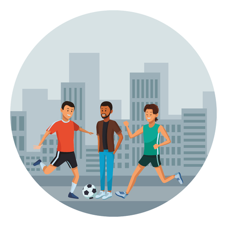group of man avatars soccer player beard and athlete in the street cityscape vector illustration graphic design