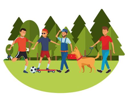 group of man avatars soccer player skateboarder worker and dog vector illustration graphic design