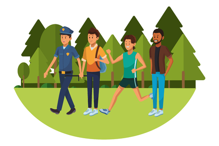 group of man avatars policeman student athlete afroamerican vector illustration graphic design
