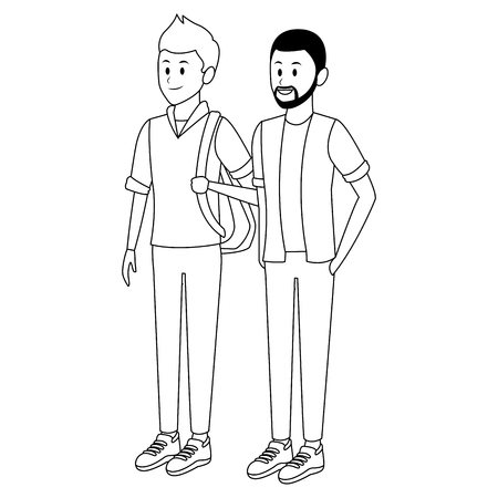 student and afroamerican man bag beard black and white vector illustration graphic design