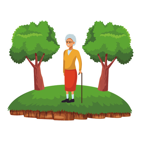 old woman with cane and glasses in the park vector illustration graphic design