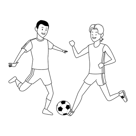 soccer player and athlete ball black and white vector illustration graphic design 向量圖像