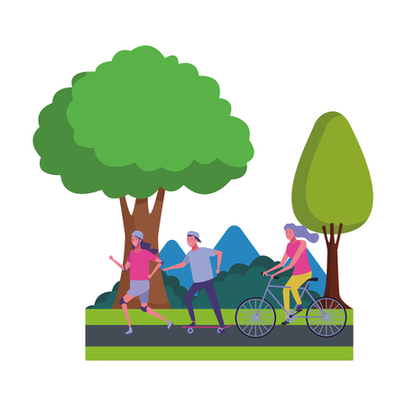 athlete people avatars in the parkscape vector illustration graphic design