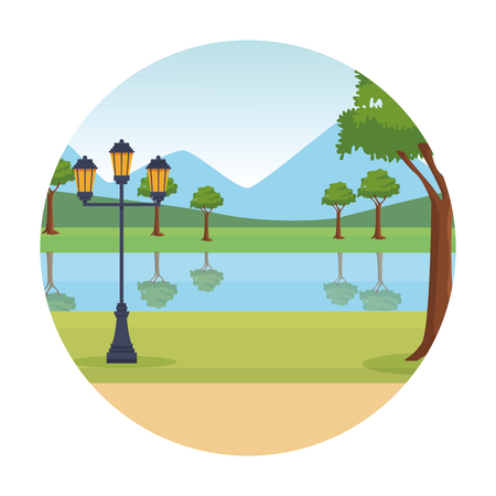 park landscape round icon tree and lantern vector illustration graphic design Illustration