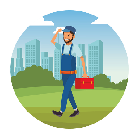 worker with toolbox overall in the park cityscape round icon vector illustration graphic design