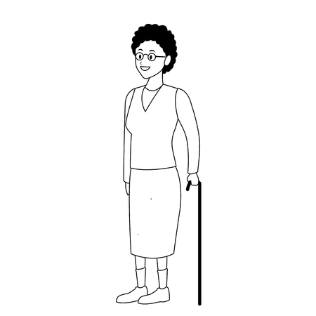 old woman with cane and glasses black and white vector illustration graphic design