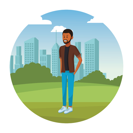 afroamerican man with beard in the park cityscape round icon vector illustration graphic design